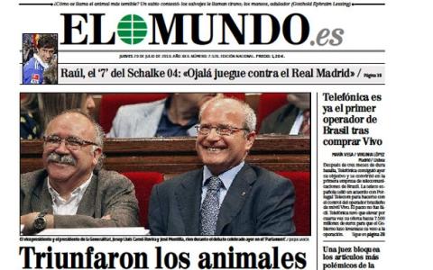 La portada de 'El Mundo' titula la noticia con